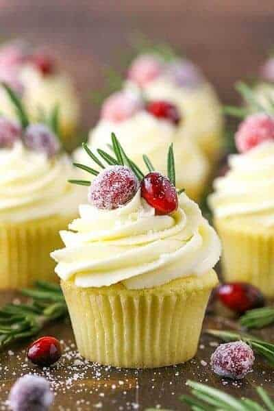 Sparkling Cranberry White Chocolate Cupcakes