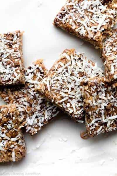 no bake chewy chocolate coconut granola bars