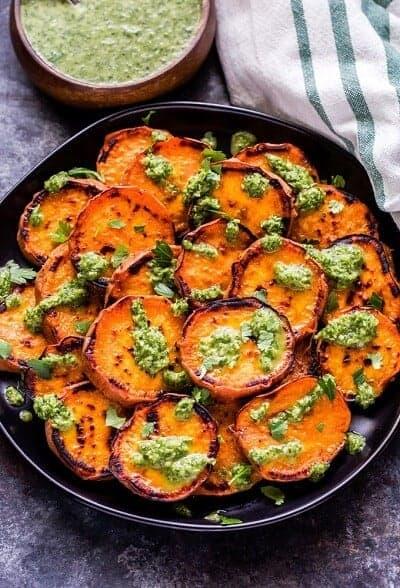 Grilled Sweet Potatoes Cilantro Chimichurri