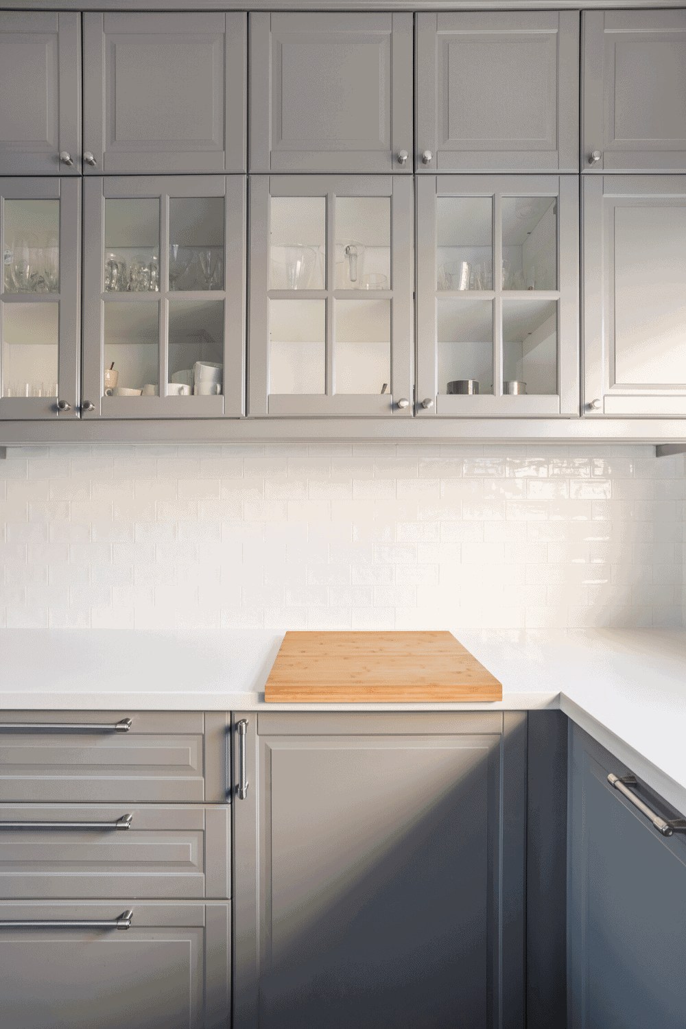 gray kitchen cabinets with white counter tops