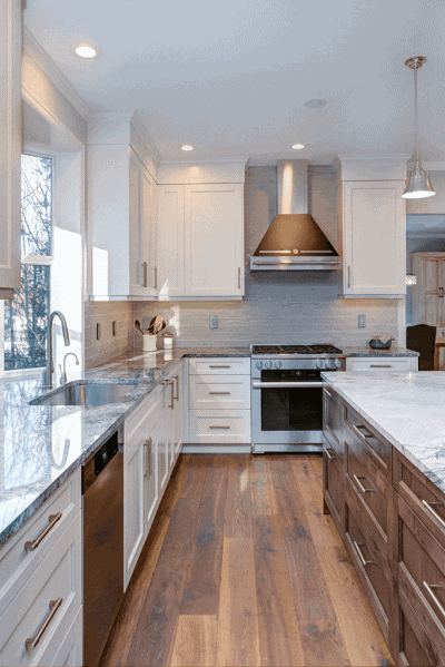 white and brown kitchen cabinets