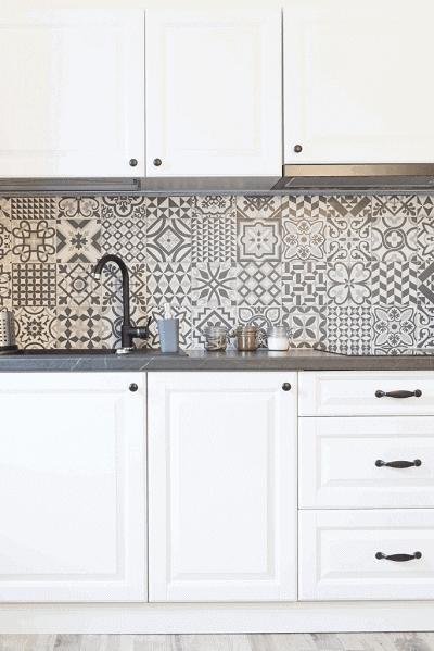 white cabinets with patterned backsplash