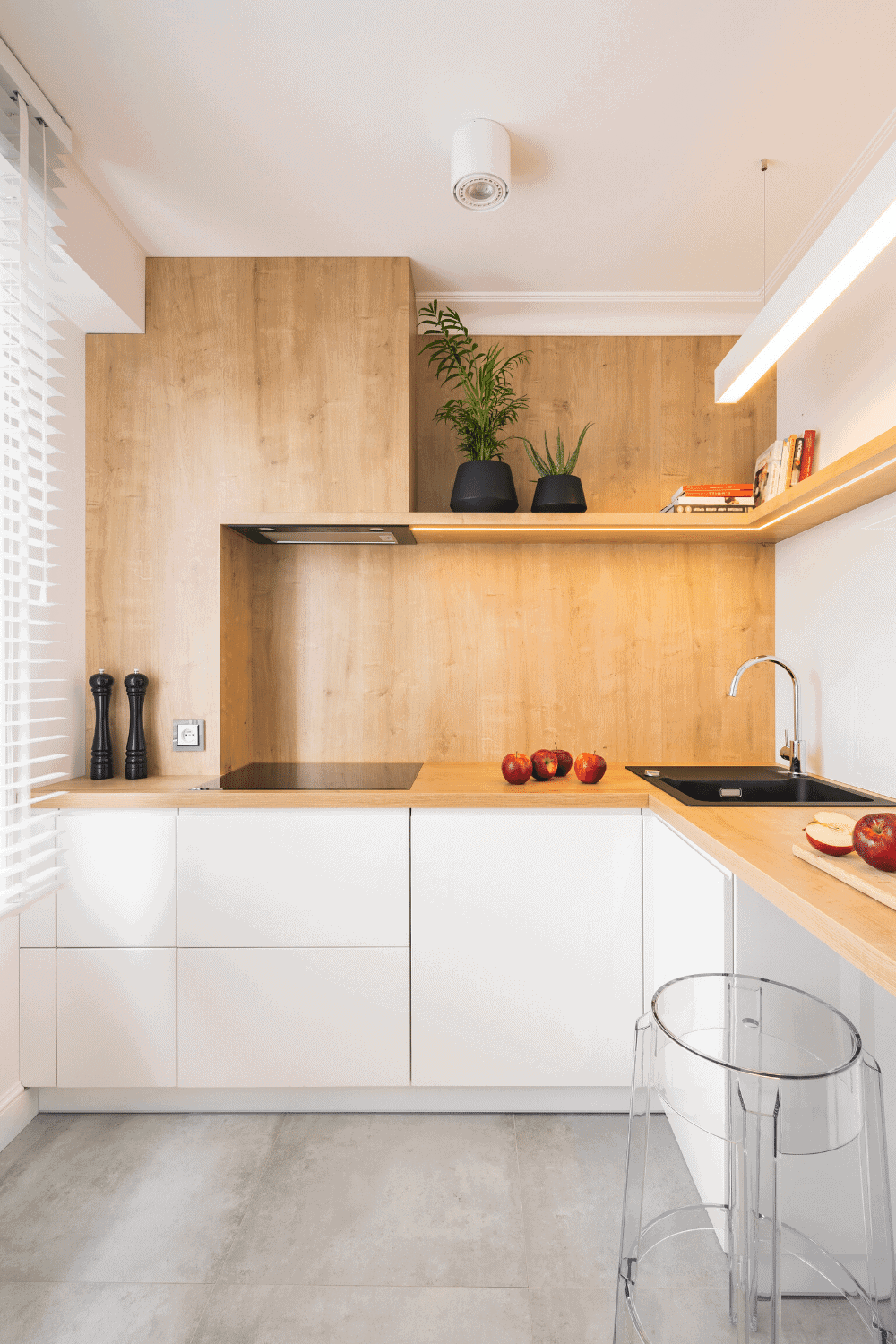 white kitchen cabinets with brown shelves