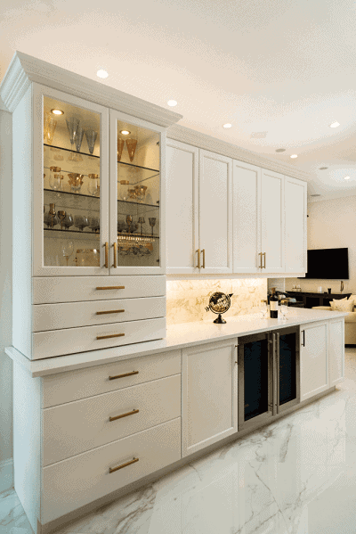 white kitchen cabinets with open glass section