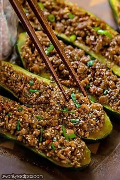 Garlic Sesame Chicken Zucchini Boats
