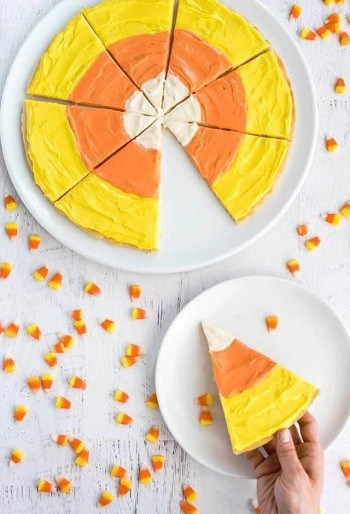 Candy Corn Halloween Dessert Pizza