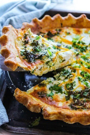 Butternut Squash Kale and Goats Cheese Quiche
