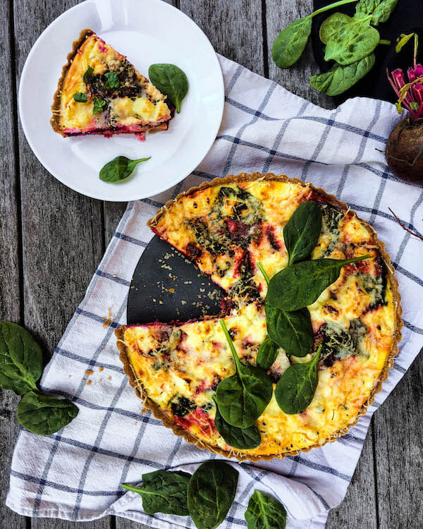 Roasted Beet Spinach and Goat Cheese Quiche