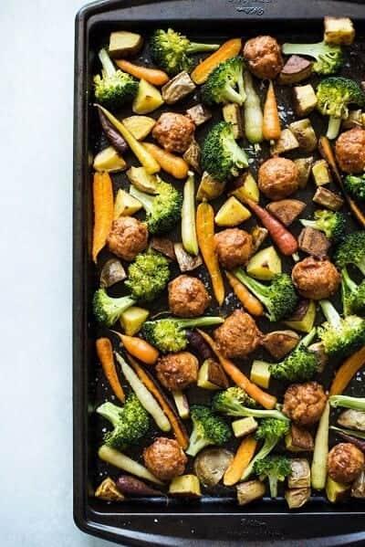 Chicken Meatballs & Roasted Vegetables