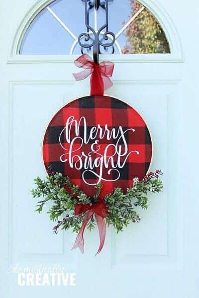 DIY Christmas Buffalo Check Hoop Wreath