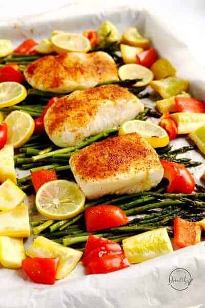 Halibut with Asparagus, Red Pepper and Summer Squash