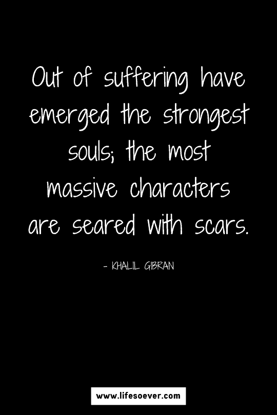 Inspirational quote about becoming stronger through hard times