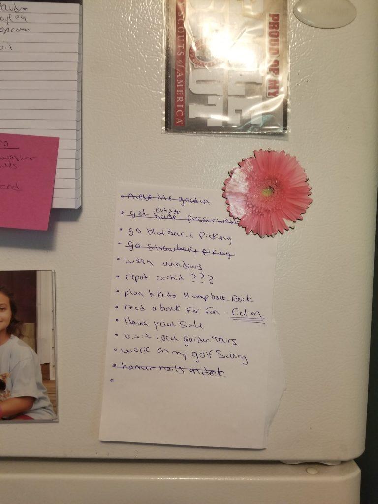 To-do list on fridge