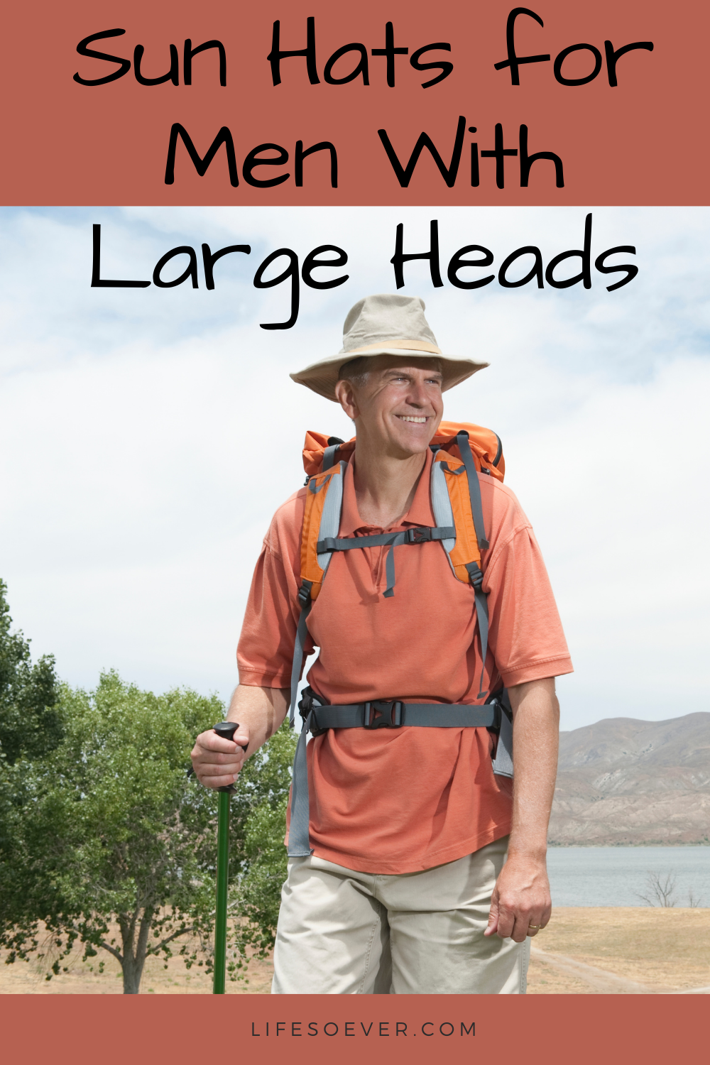 man with sunhat hiking